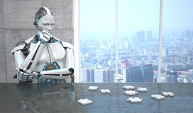 Robot Puzzle. A white robot sitting at the table assembling a puzzle vector illustration