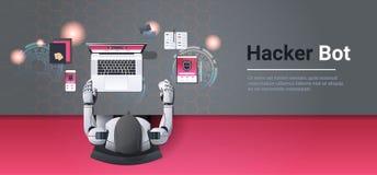 Robot que corta la seguridad de información digital de Internet del ataque de la privacidad de datos del concepto del bot del pir ilustración del vector