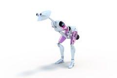 Robot que ejercita con Kettlebell Imagenes de archivo