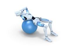 Robot que hace a Sit Ups en bola del ejercicio Fotos de archivo libres de regalías
