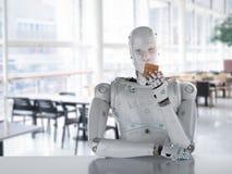 Robot que juega el cubo Imagen de archivo