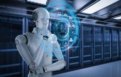 Robot que juega el cubo Imagenes de archivo
