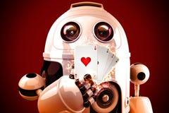 Robot que juega el póker ilustración 3D Foto de archivo libre de regalías