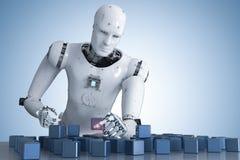 Robot que juega rompecabezas stock de ilustración
