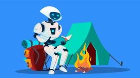 Robot que lee un libro cerca de vector de la chimenea Ilustración aislada
