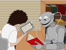 Robot que lee un papel-libro Foto de archivo