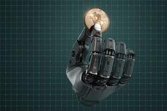 Robot que lleva a cabo el bitcoin con los fingeres en brazo mecánico stock de ilustración