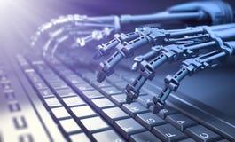 Robot que mecanografía en un teclado de ordenador Foto de archivo libre de regalías