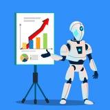 Robot que prepara vector analítico y financiero de los gráficos Ilustración aislada