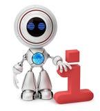Robot que se coloca cerca a un icono de la información Foto de archivo libre de regalías