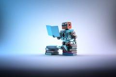 Robot que se sienta en un manojo de libros Contiene la trayectoria de recortes stock de ilustración