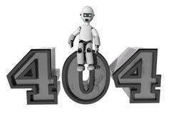 Robot que se sienta encima de 404 para el error Fotos de archivo
