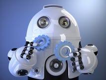 Robot que sostiene los engranajes en manos Concepto de la tecnología Contiene el clipp Imagen de archivo