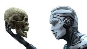 Robot que sostiene un cráneo humano stock de ilustración