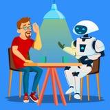 Robot que tiene un buen rato con el hombre del amigo en la tabla en vector del café Ilustración aislada