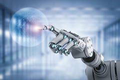 Robot que trabaja con la exhibición virtual imágenes de archivo libres de regalías