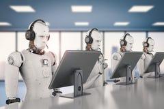 Robot que trabaja con las auriculares y el monitor stock de ilustración