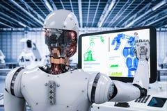 Robot que trabaja en fábrica Imagen de archivo