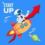 Robot que va por el espacio Rocket Vector Empiece para arriba Ilustración aislada