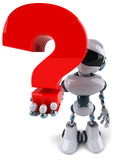 Robot and question Royalty Free Stock Photo
