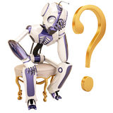 Robot and question Royalty Free Stock Image