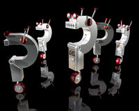 Robot Question Marks Royalty Free Stock Photo
