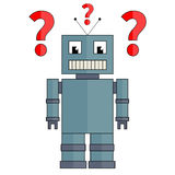 Robot with question marks Royalty Free Stock Photos