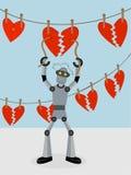 Robot réparant des chaînes de caractères des coeurs cassés Images stock