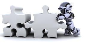 Robot résolvant le puzzle denteux illustration de vecteur