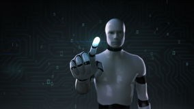 Robot rörande skärm för cyborg, konstgjord intelligens, datateknik, humanoidvetenskap 1 stock illustrationer