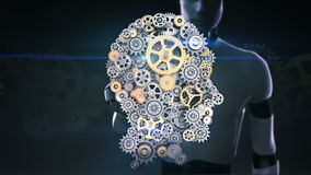 Robot rörande skärm för cyborg, kugghjul som gör det mänskliga huvudet att forma konstgjord intelligens, datateknik, humanoidvete royaltyfri illustrationer