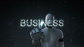 Robot rörande skärm för cyborg, talrika prickar som tillsammans komms för att göra bokstäver 'AFFÄR', stock illustrationer