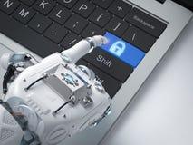 Robot ręka z kędziorka guzikiem royalty ilustracja