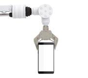 Robot ręka z pustego ekranu telefonem komórkowym zdjęcie stock