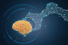 Robot ręki chwyta wieloboka mózg royalty ilustracja