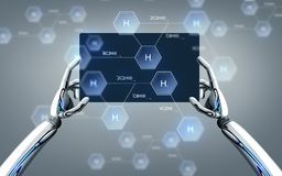 Robot ręki z pastylka komputerem osobistym i chemiczną formułą Obraz Stock