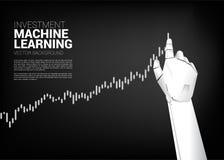 Robot r?ki ruchu ci?gnienia biznesowy wykres wysoki royalty ilustracja