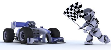 Robot in race car winning at chequered flag. 3D render of a Robot in race car winning at chequered flag Royalty Free Stock Photos