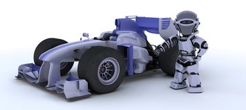 Robot with a racing car. 3D render of robot with a racing car Stock Photos