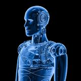 Robot x ray. 3d rendering x-ray robot on black background royalty free illustration