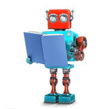 Robot reading a book. . 3D illustration with clipping path vector illustration