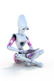 Robot reading a book Royalty Free Stock Image