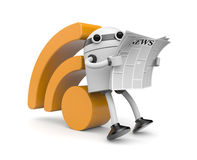 Robot reading RSS news Royalty Free Stock Images
