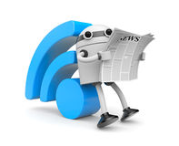 Robot reading RSS news Royalty Free Stock Photo