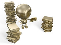Robot reads books. Golden robot standing near large piles of books is reading one of them Stock Photography
