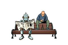 The robot reads the morning newspaper, a drunk man sits next vector illustration