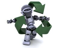 Robot and recycle sign. 3D render of a robot and recycle sign Royalty Free Stock Image