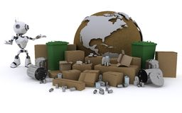 Robot recycling waste Royalty Free Stock Image