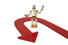 Robot with red arrow,3D illustration. Robot with red arrow 3D illustration Stock Photos