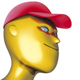 Robot red cap. Illustration 3D, heads robot red cap Royalty Free Stock Images